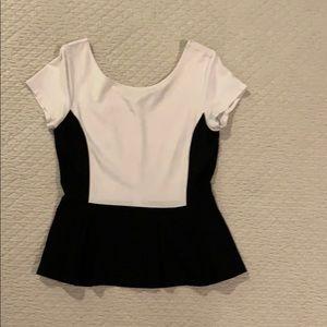 Black and white peplum top